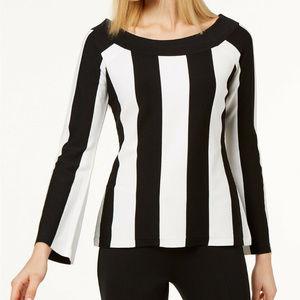 INC Striped Sweater Boat Neck Black White M